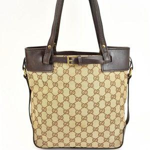GUCCI Brown LEATHER GG LOGO TOTE/shoulder bag